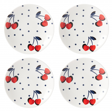 Vintage Cherry Dot Tidbit Plate Set of 4