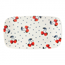 Vintage Cherry Dot Hors D'oeuvres Tray