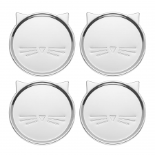 Silver Wit Cat Coasters, Set Of 4