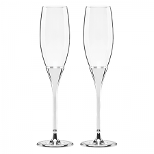 Simply Sparkling Flute Pair Silver