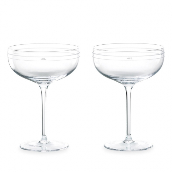 Darling Point Champagne Saucer Pair - Mr & Mrs